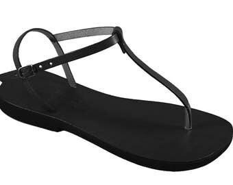 Black Thong Sandals, Barefoot Sandals, T-strap sandals - Sensation