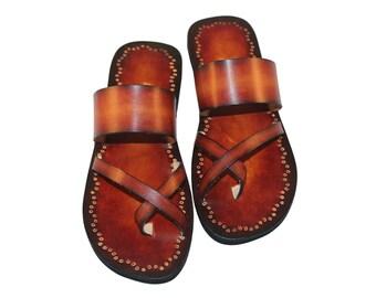 Unisex Slide On Sandals, Double Tone Leather Sandals, Custom Sandals, Handmade, Hand Painted Classic Slides - VALOR