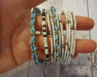 Lot of 12 Glass Beaded Thin Bangle Bracelets, White, Light Blue, Black, Beaded Braclets, Bangle Lot, Summer Accessory