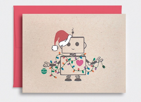 Cute Christmas Cards Set of 10 Handmade Hand Painted Robot