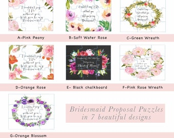 PUZZLE- Will You Be my Bridesmaid, proposal, Maid of Honor, Matron of Honor, bridesmaid card, bridesmaid invitation, unique proposal,