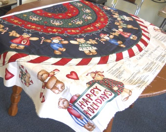"Christmas Tree Skirt ""Can Bearly Wait!"" - Sewing Fabric Panel"