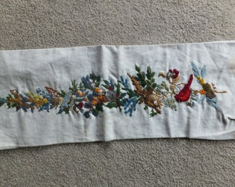 Vintage Embroidery with Birds & Foliage