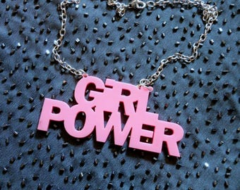 Candy Pink GIRL POWER Nameplate Acrylic Necklace with silver Chain // Monogram Necklace // Future Is Female