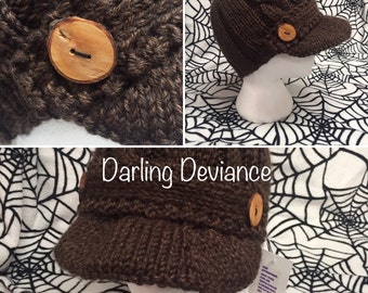 Knit Cabled Newsboy Cap with Wide Brim and Handmade Wood Buttons