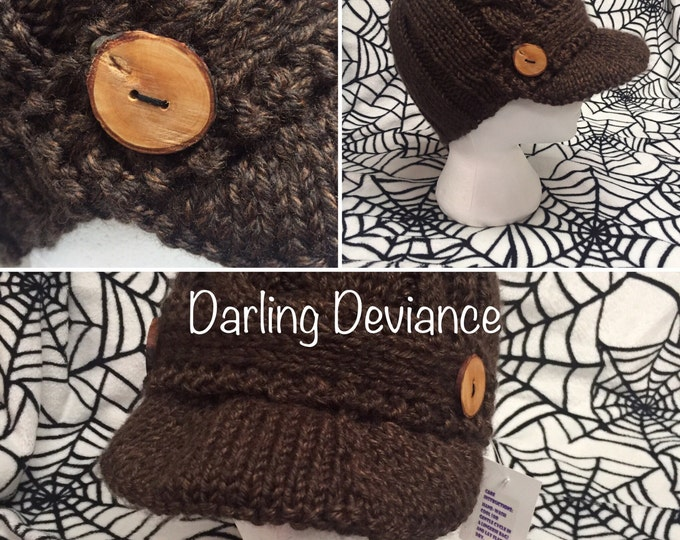 Featured listing image: Knit Cabled Newsboy Cap with Wide Brim and Handmade Wood Buttons