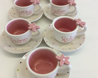 "10 Child's Personalized Tea cup and Saucers ""sprinkles"""
