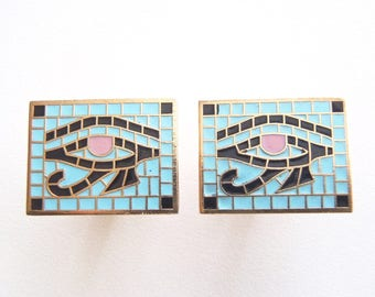 Eye of Horus Cuff Links Anson Inc. Gold Tone Cufflinks: Ancient Egyptian Motif Mosaic-Style Champlevé Enamel Rectangles Sky Blue Black Mauve