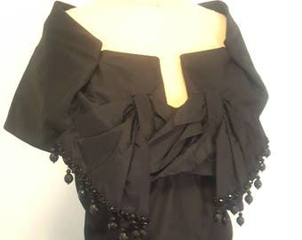 SALE Dramatic Vintage 40s 50s Black Dress. Boned. Glass Beads. Full skirt. Small