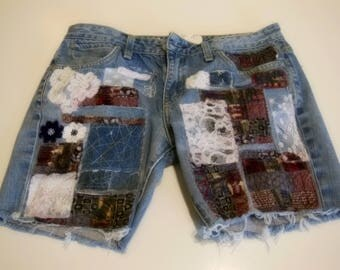 patched denim shorts, patchwork, cut off shorts, boho, trendy denim, gypsy, Grateful Dead style, up cycled, one of a kind