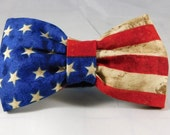 Dog Flower or Bow Tie- Red, White and Blue