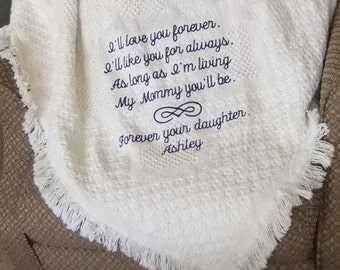 Wedding Gifts Personalized Cotton Throw Blanket Embroidered Wedding Blanket Gift Mother of the Bride Gift for Wedding