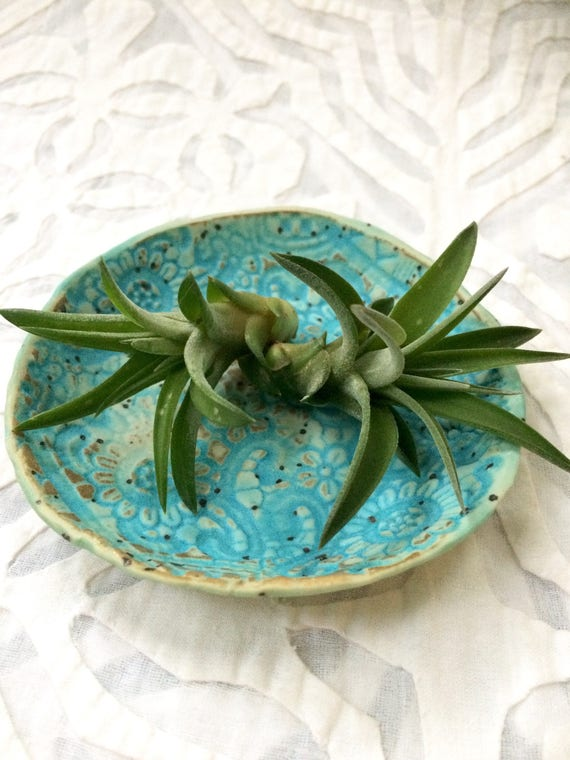 Turquoise ring dish, Air Plant holder, ring bowl, lace dish, spoon rest, salt dish,
