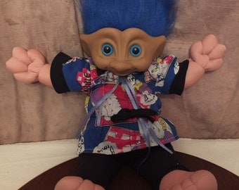 Treasure Trolls Blue Hair Troll Large Soft Body Troll Doll Ace Novelty Troll