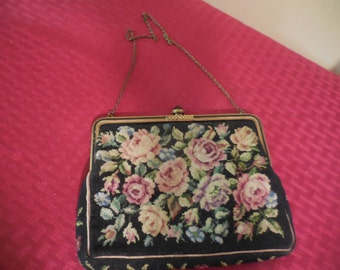 Vintage 1940s to 1950s Black Tapestry/Embroidered Purse Flowers/Floral Made in Austria Glass Closure Small Pink/Purple/Blue/Green Chain