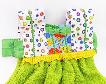 Playful Colorful Kitchen Oven Door Towel Dress, Lime Green and Yellow and Rainbow Polka Dots, Colorful Oven Dress, Housewarming Gift