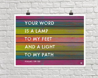 Your Word Is A Lamp To My Feet 18x24 Landscape Art Poster Giclee Typography A Light To My Path Bible Psalms Lisa Weedn
