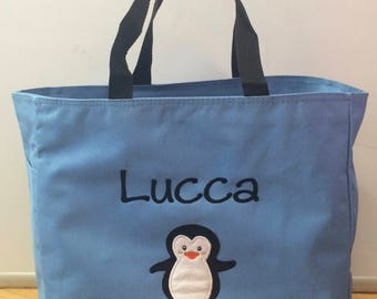 Personalized Baby Diaper Bag Tote Penguin Boy