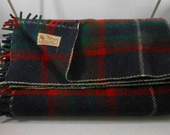 HORNER Vintage Wool Blanket Throw Navy Red Green Plaid 1950s