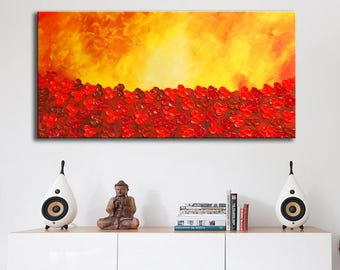 Red Abstract, Red Flowers, Red landscape, orange painting, large abstract, abstract painting, sunset painting, poppies field, red painting