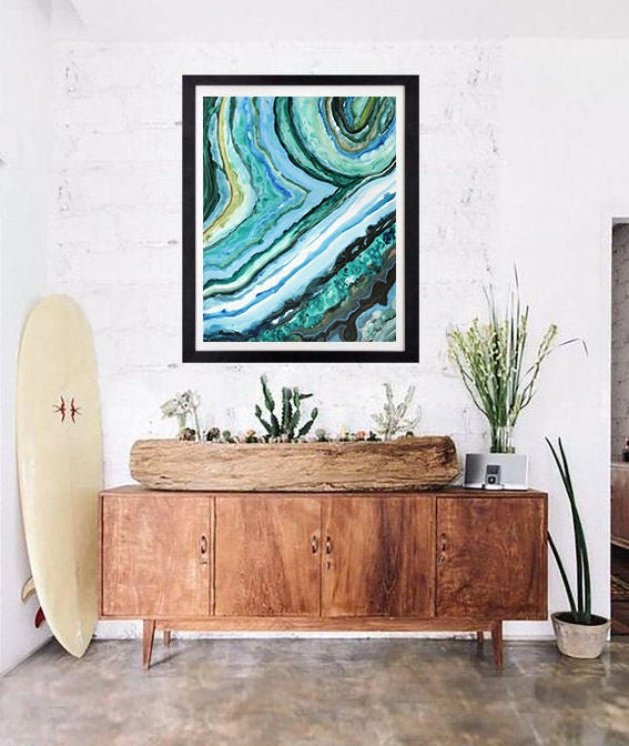 Merveilleux 11x14 Large Paper Print Agate Slice Caribbean Agate Tropical  Wall Decor By Lauren Tannehill Art