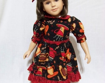 """For the Love of Dolls and Coffee Dress with Matching Hair Bow for 23"""" My Twinn Doll"""