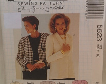 McCall's Vintage Busy Woman's Unlined Jacket Pattern # 5523 Designed by Nancy Zieman  Size 10  Epsteam