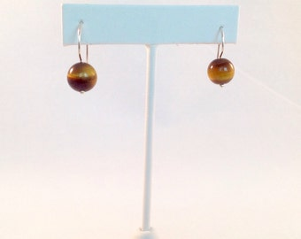 Tiger eye dangle earrings in sterling silver with French wires.