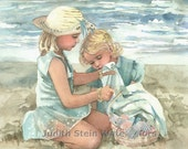 "Sisters, Friends, Girls on Beach, Seashore, Children Watercolor Painting Print, Wall Art, Home Decor, ""Beach Blanket Party"""