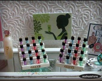 1:12 scale miniature nailpolish display for a miniature perfume shop