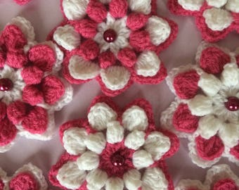 Crochet Flowers.Handmade Crochet Flowers Applications.Crochet Embellished Flowers.Flowers Art.Craft Supplies.