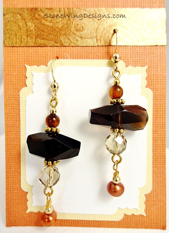 Smokey Quartz Gemstone Earrings with Pearl and Jade