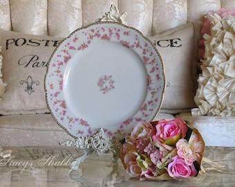 Stuning Vintage BAVARIAN Pink ROSE PLATE, Gold, Shabby Chic, Marie Antoinette Style