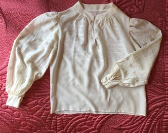 Vintage Pure Silk White Peasant Blouse