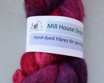 Hand-dyed Blue-faced Leicester wool fibres