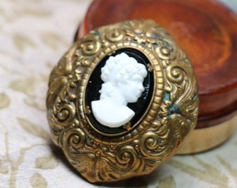 Beautiful Brass and Glass Cameo Sweater Clip