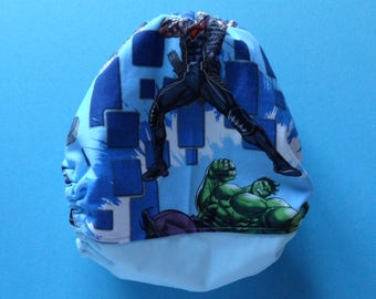 SassyCloth one size pocket diaper with Avengers cotton print. Ready to ship.