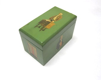 Vintage Green Wooden Playing Card Box Decoupaged