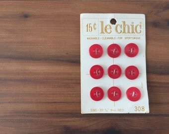 Vintage Red Buttons on Card, Le Chic, Nine (9) Plastic Buttons, Round 9/16""