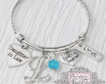 Daughter in Law Gift, Bracelet - Birthday Gift for Daugher in Law, Jewelry-Expandable Bangle-Charm Bracelet, Love, Future Daughter in law
