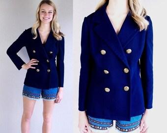 Sale vtg 60s navy MILITARY fitted BOYFRIEND JACKET Medium blazer preppy mod retro knit skinny blue