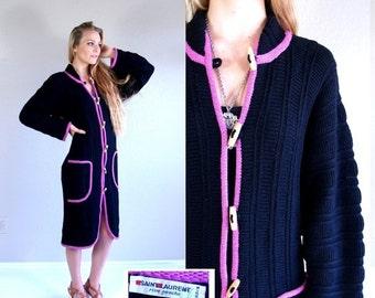 Sale vtg 70s black YSL Yves Saint Laurent SWEATER COAT jumper xs/s toggle button ribbed avant garde jacket knit cardigan coat wool fushia pi