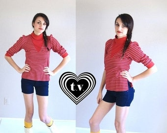 Sale vtg 80s red, white striped YOKE NECKLINE puff sleeve Dolly TOP xs/s retro indie hipster mod
