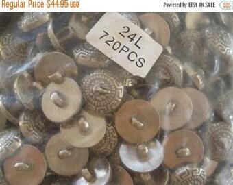 "Bulk Lion Buttons Antique pewter color 720 pcs silver shank metallic plastic 24L 5/8"" 15mm scrapbook cabochon craft paper tag supply Versace"