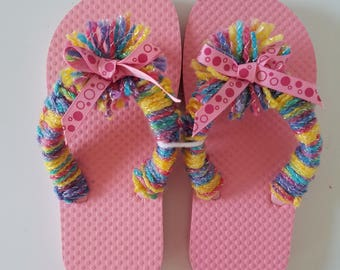 Girls Pink Flop Flops Crocheted With Multi Colored Yarn and Pink Bubble Bow