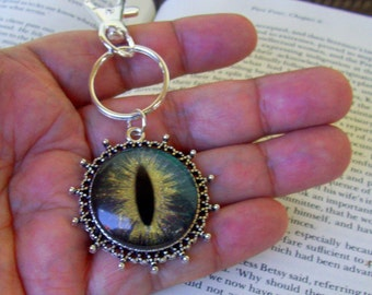 Dragon Eye Key Chain (KC604), Blue Violet and Gold Sparkle Holographic, Hand Painted Glass Eye, Silver Hardware