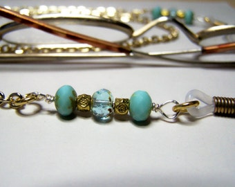 Turquoise Color Eyeglass Necklace on a Gold Chain, One of a Kind Eyeglass Chain, by Eyewearglamour