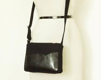 Black Gray Crossbody Bag Travel Wallet Small Canvas Leather Messenger Passport Purse Mens Womens Simple Small Bag