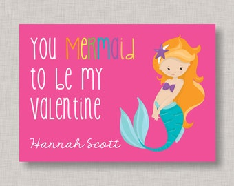 Mermaid Valentine Card, Classroom Valentines, Classroom Valentine's Day Card, Kids Valentine Cards, Kids Valentines, Mermaid Valentine