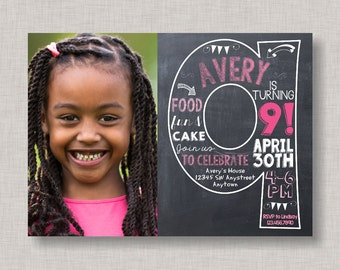 Ninth Birthday Invitation, 9th Birthday Invitation, Girl Birthday Invitation, Photo Invitation, 9th, Number 9, Ninth Birthday, Girl Bday